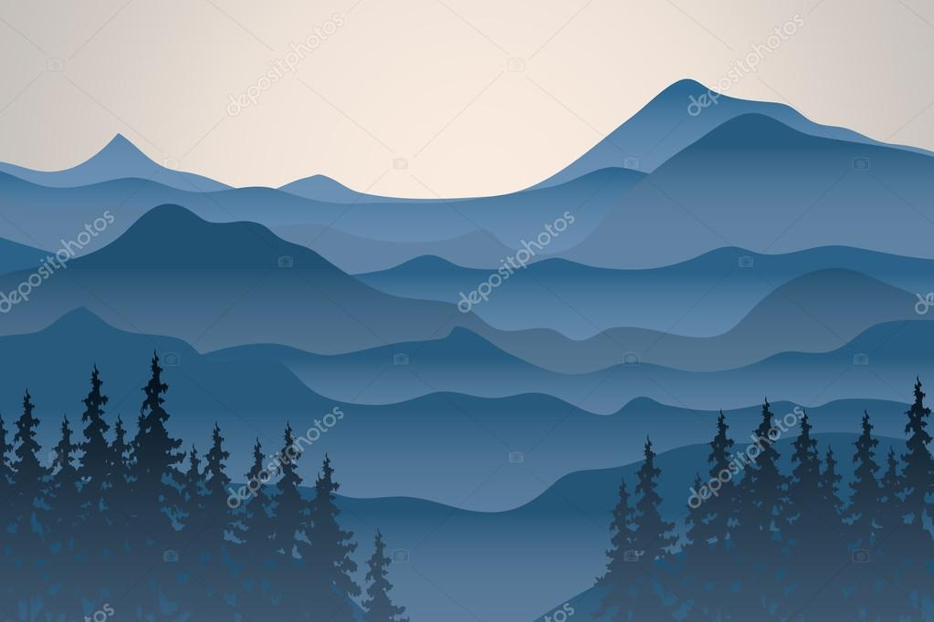 View of blue mountains.