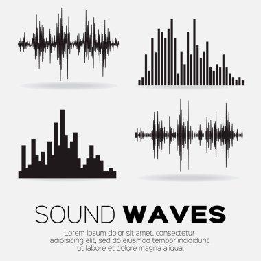 Set of 4 music sound waves