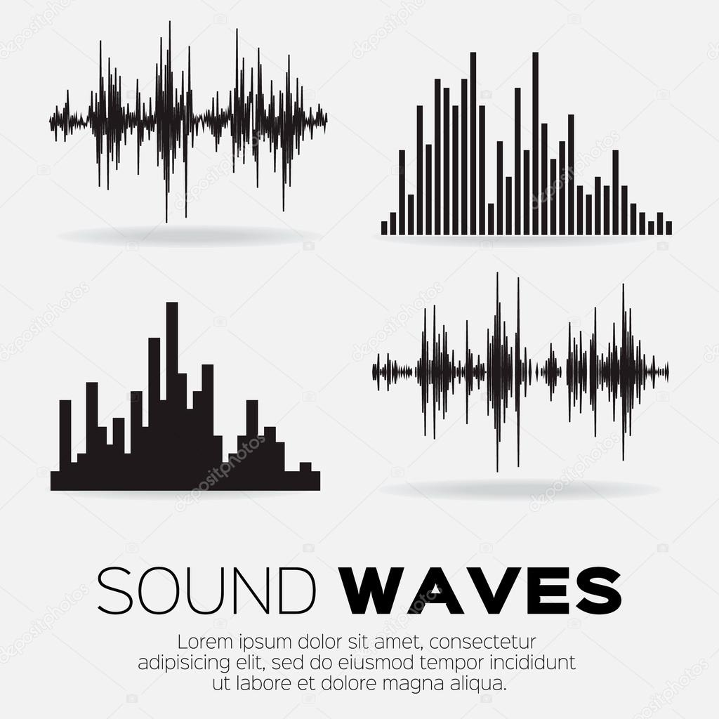 Set of 4 music sound waves