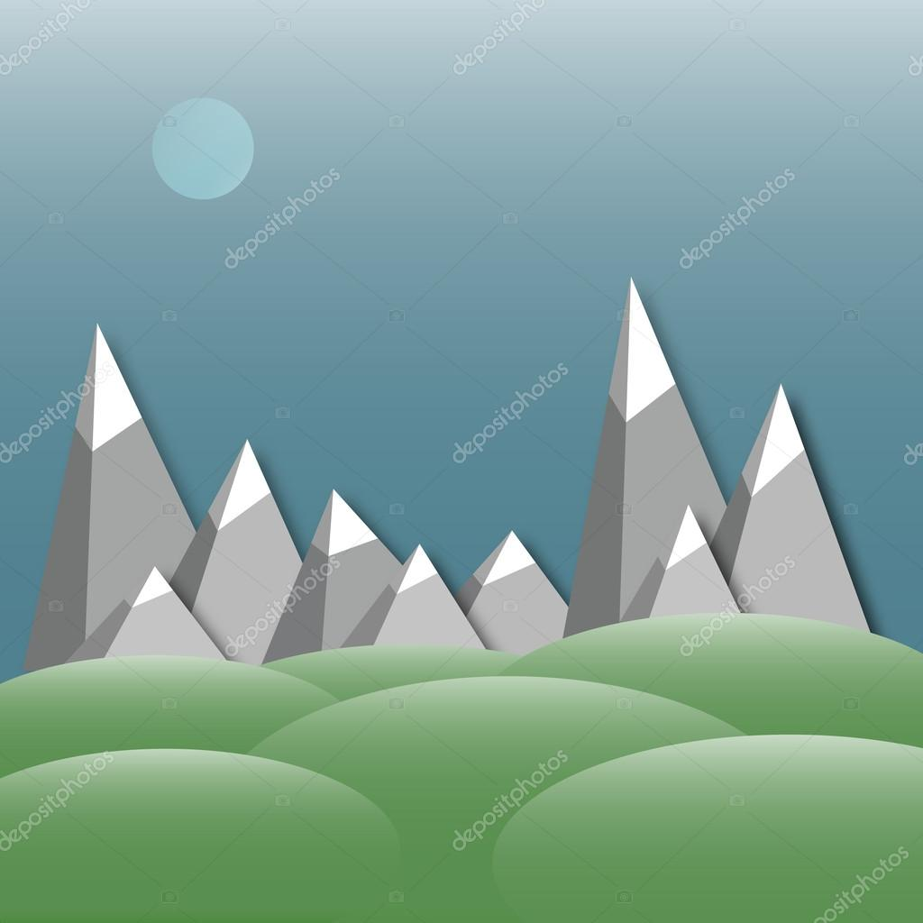 Mountain landscape. applique with low-poly style