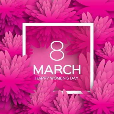 """Картина, постер, плакат, фотообои """"абстрактная открытка с розовым цветом - международный женский день - 8 марта праздничный фон с вырезанной бумагой цветы рамки. trendy design template. векторная иллюстрация"""", артикул 99504234"""