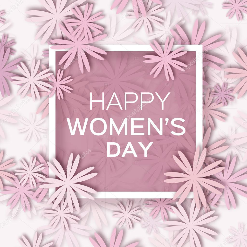 Abstract pastel floral greeting card international happy womens abstract pastel floral greeting card international happy womens day 8 march holiday background with paper cut frame flowers trendy design template m4hsunfo