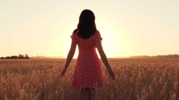 A girl in a red dress walks among ripe wheat in a field during sunset. Freedom, agriculture. Silhouette