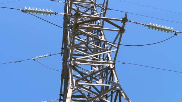 High-voltage lines of high-voltage masts. Transmission line. Production and supply of electricity.