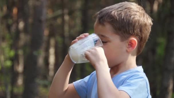 Šťastný evropský chlapec pije mléko v pozadí přírody. Zdravá výživa dětí. Přírodní produkty. Ekologické produkty. Profil dítěte, které pije mléko.