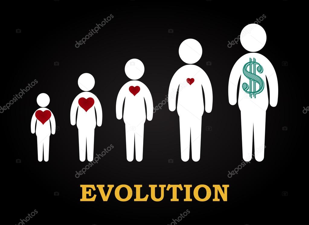 Evolution, heart to money - funny inscription template — Stock ...