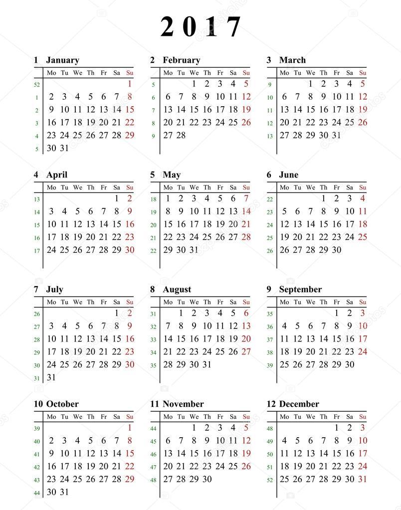 Plantilla de calendario 2017 simple para uso comercial y privado - a ...