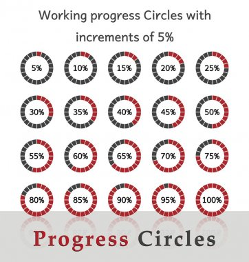 Progress circles with increments of 5% - red design