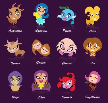 Cartoon horoscope with purple background