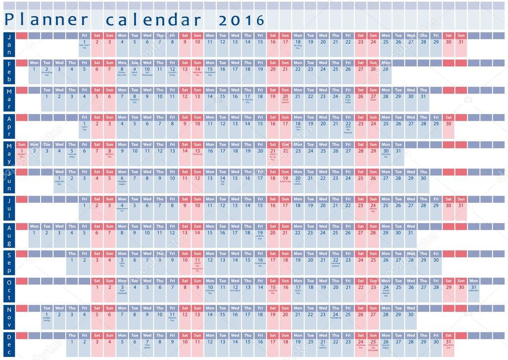Plantilla de diseño planificador calendario 2016 - con días de ...