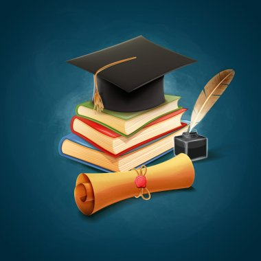 diploma with graduation cap and books