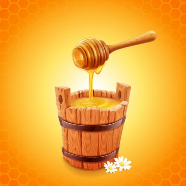 Honey stick and wooden bucket
