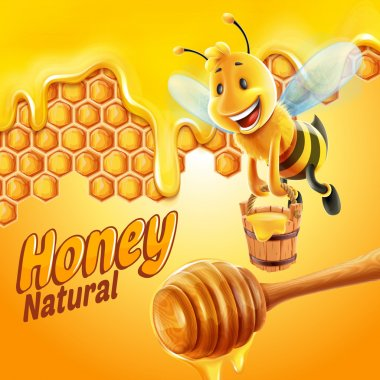 Natural honey bee  llustration