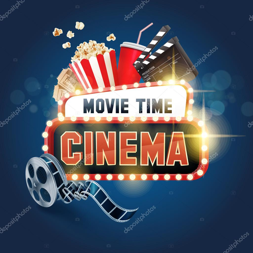 sign for movie time background � stock vector 169 mollicart