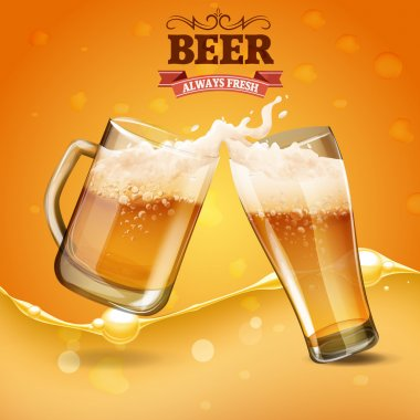 Beer cold glasses vector illustration stock vector