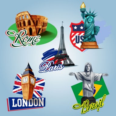 travel destinations icons set