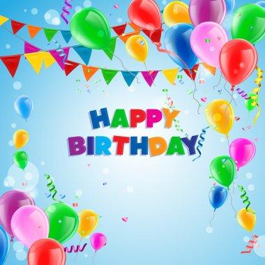 Vector Illustration of a Happy Birthday Greeting Card clip art vector