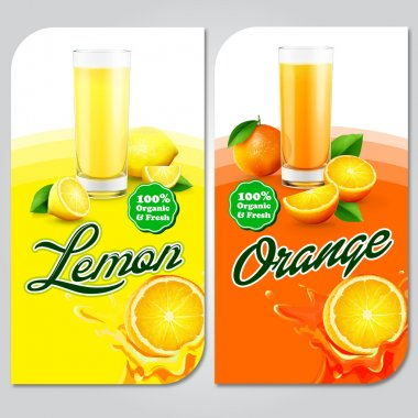 fresh lemon and orange with juice