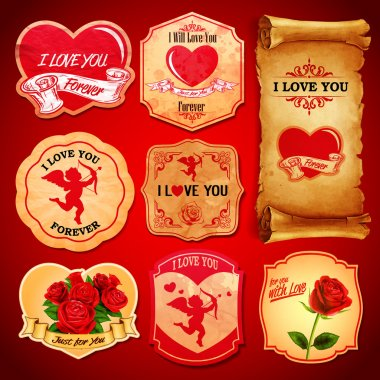 Beautiful sstickers for Valentine's day stock vector