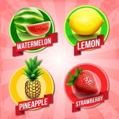 Abstract colorful  fruits banners clip art vector