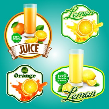 illustration of fresh  juice labels
