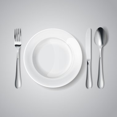Cutlery: knife and fork, spoon,plate