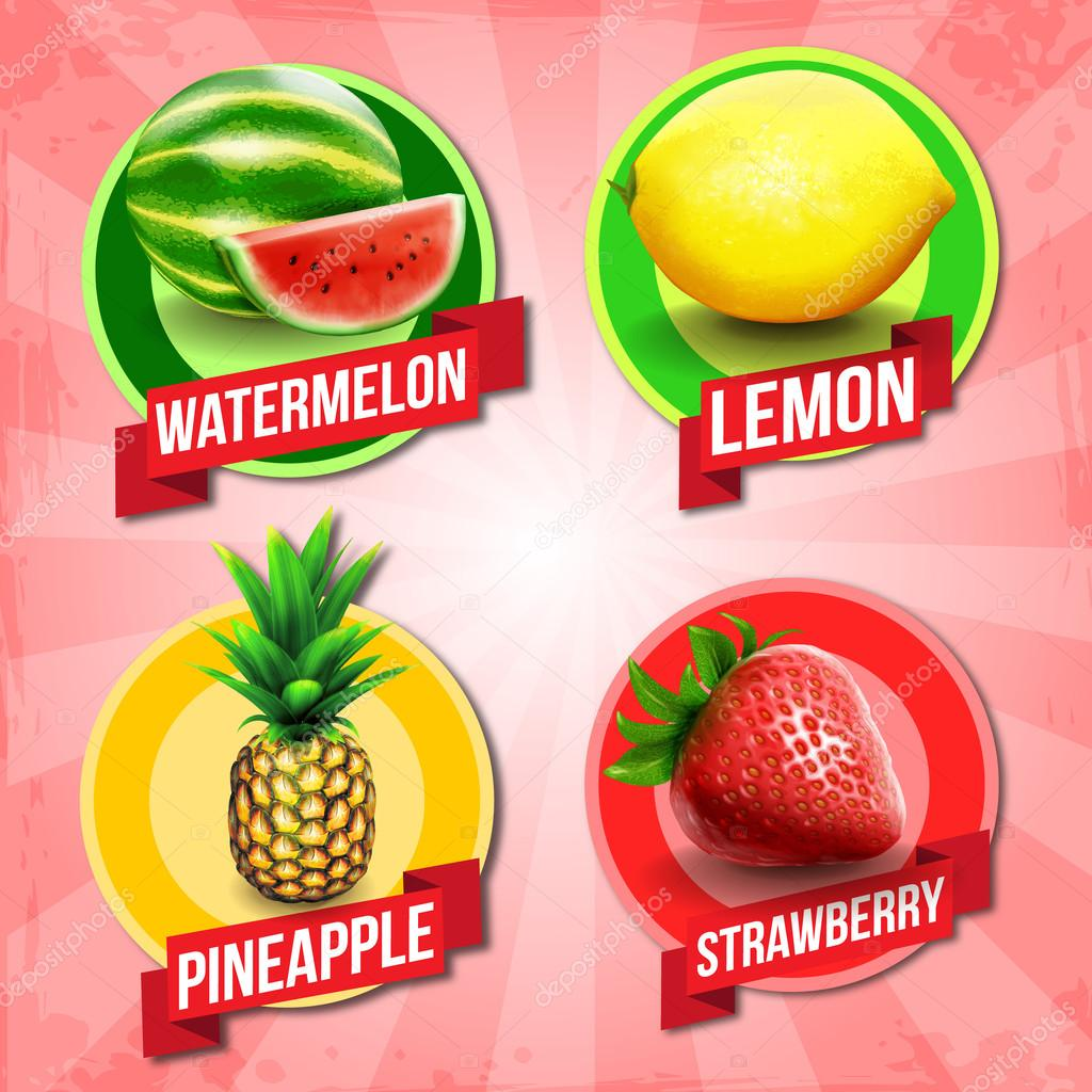 Abstract colorful  fruits banners clipart vector