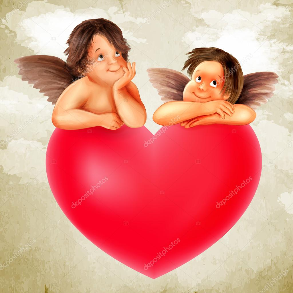 cute angels with red heart