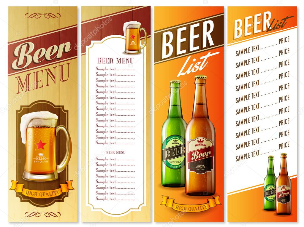 Beer Menu List  Stock Vector  Mollicart