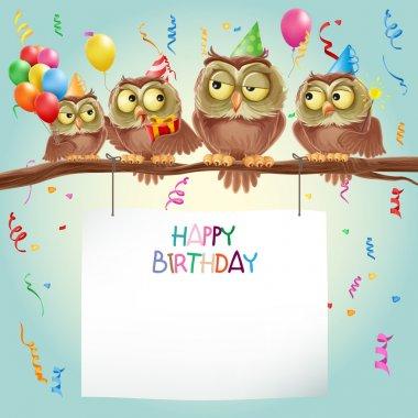happy birthday card with owls