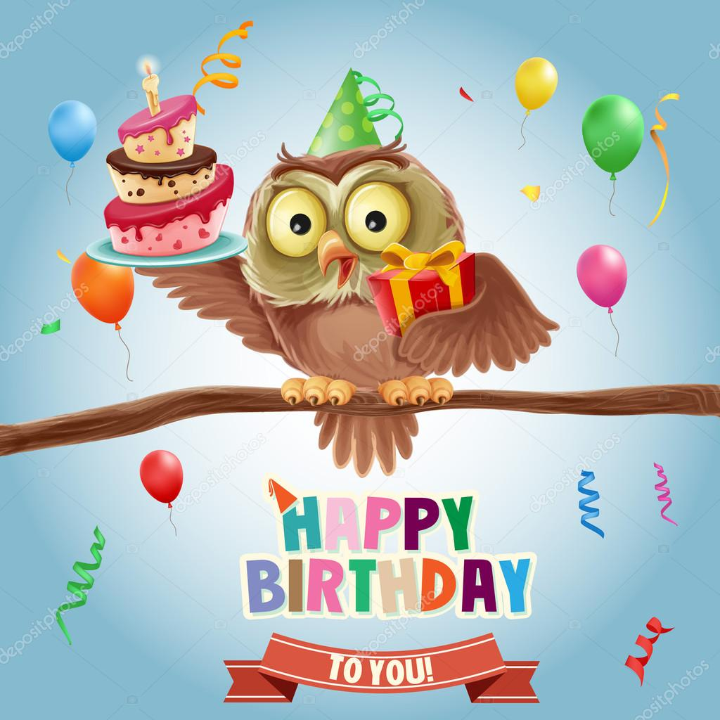 Happy birthday banner with owl stock vector mollicart for Geburtstagsbilder 18