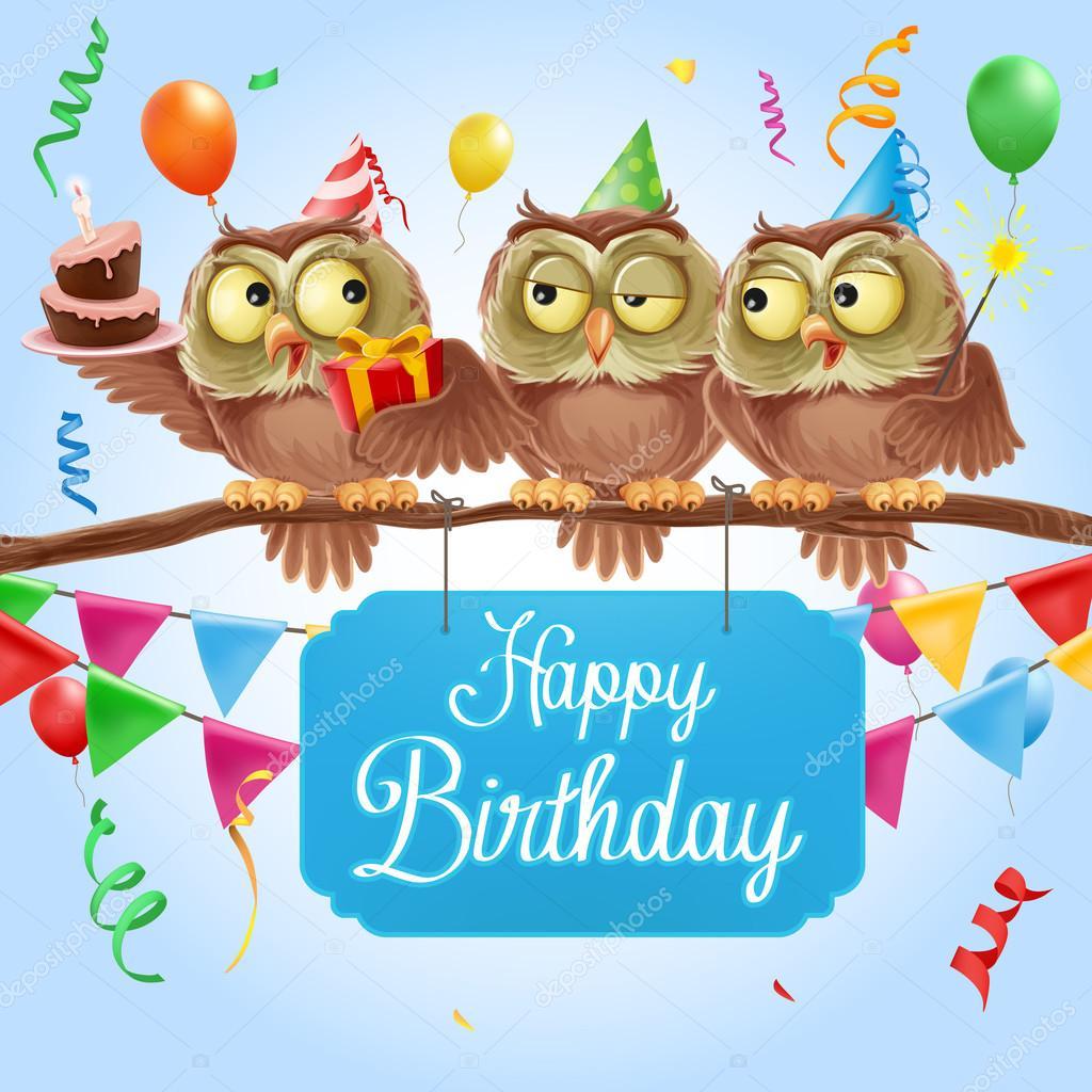 Открытка с днем рождения совы на ветке, отправить открытку