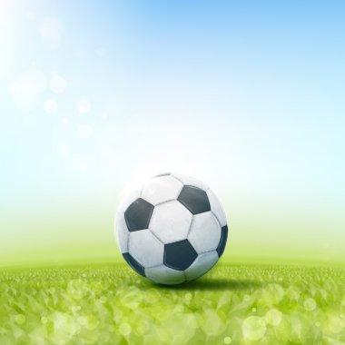 Soccer ball laying on grass field