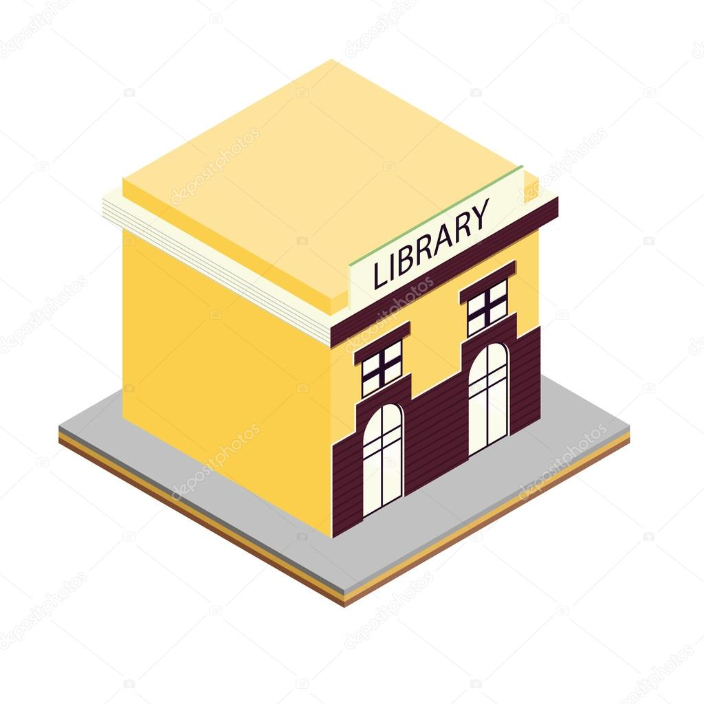 Bibliotheksgebäude isometrischen 3d Symbol — Stockvektor ...