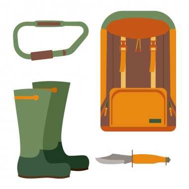 Hunting knife and backpack for trekking. Leisure and hiking, equipment for travel tourism, vector illustration icon