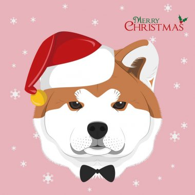 Christmas greeting card. Akita Inu dog with red Santa's hat and bow tie icon