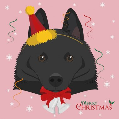 Christmas greeting card. Schipperke dog wearing a party hat icon