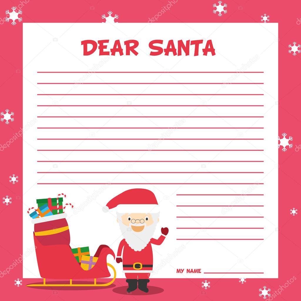 Weihnachtsmann Briefvorlage Stockvektor Asantosg 90946316