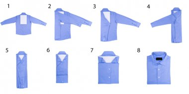 The steps of folding shirts