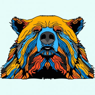 Multicolor Grizzly Bear Mascot Head Vector Graphic