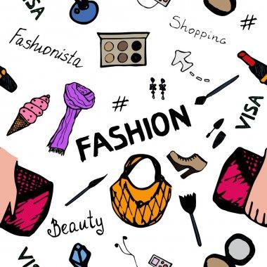 Seamless Fashion Shopping Pattern