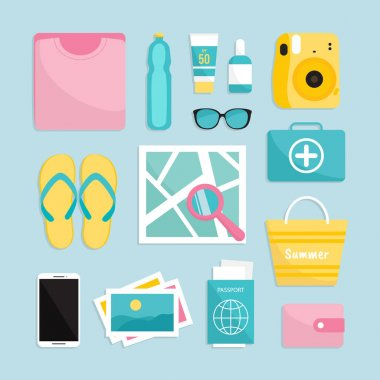 Travel things. Summer Traveler's set: map, passport, camera, sunglasses and etc. icon