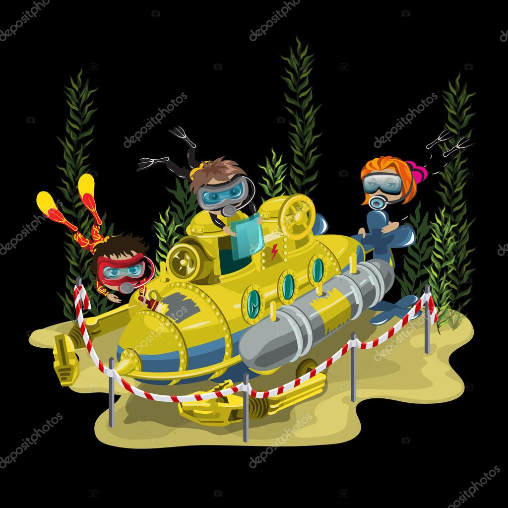 Submarine, surrounded by three divers