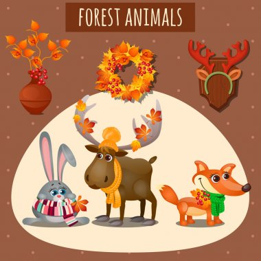 Three forest animals in a warm scarf and hat