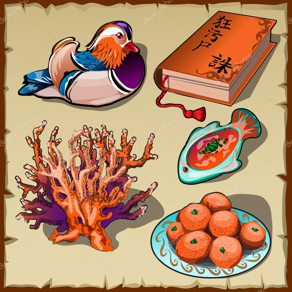 Chinese duck, book, tangerine and coral, 5 images