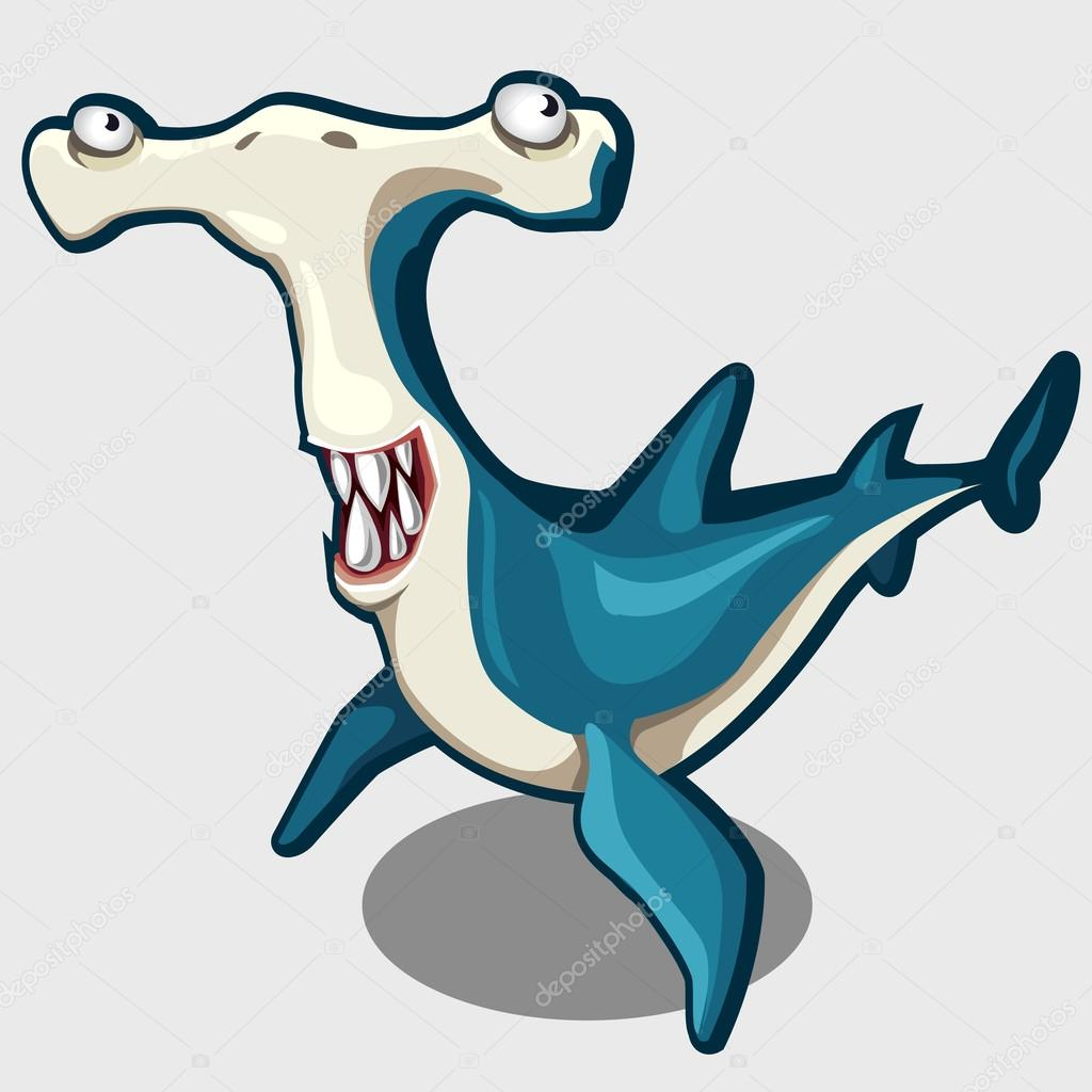 Fun blue hammerhead with eyes, isolated vector