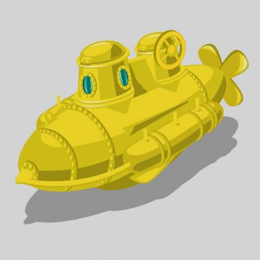 Toy yellow submarine, isolated vector object
