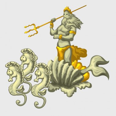 Triton on a carriage with team of sea horses