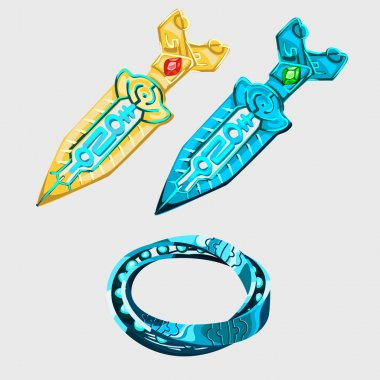 Two fantasy sword with runes and magical bracelet