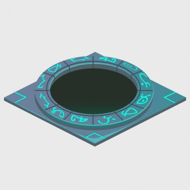 Portal with glowing runes, series of artifacts